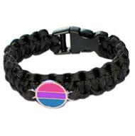 Black Bisexual Flag Paracord Bracelet - Bi Pride Disc Flag - LGBT Pride Wristband