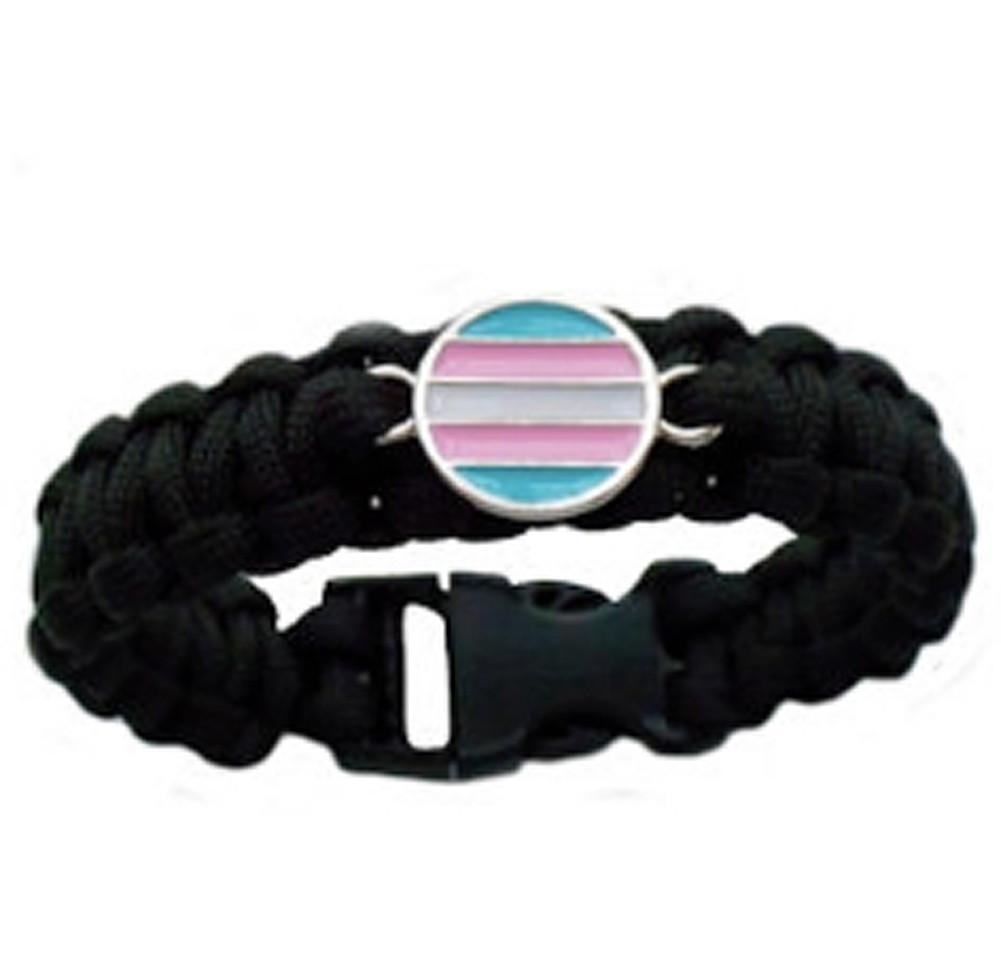 Black Transgender Flag Paracord Bracelet - Trans Pride Disc Flag - LGBT Pride Wristband
