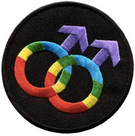 Black and Rainbow Round Double Male Gay Patch - LGBT Gay Apparel Accessories