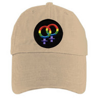 Tan Baseball Cap with Rainbow Double Venus Lesbian Female Symbols - LGBT Lesbian Pride Hat. Lesbian Pride Clothing & Apparel
