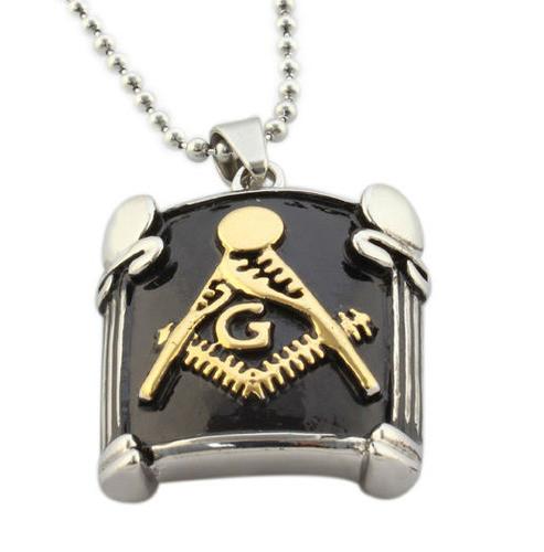 Freemason pendant masonic necklace black and gold pillar face image 1 aloadofball Gallery