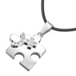 Female CZ Bling Puzzle Steel & Venus Symbol Lesbian Pride Pendant - Lesbian Pride Necklace Single_Female_CZBling_PuzPend_w_PVC