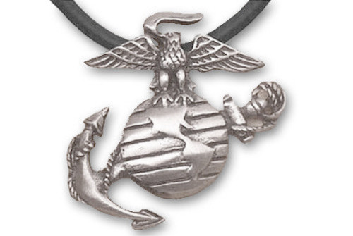 Marines - USMC Military Pewter Necklace with Black PVC Rope