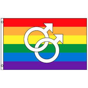Image of Rainbow Flag / Gay Pride Flag (Double Male Mars Symbols) 3 x 5 Polyester Gay Flag