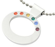 Rainbow CZ Top Oval Pendant - Gay & Lesbian LGBT Pride Necklace