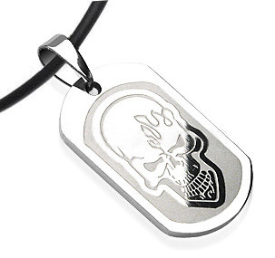 """Biker Smooth Flame Skull Dog Tag- Goth Stainless Steel with 18"""" PVC Rope"""