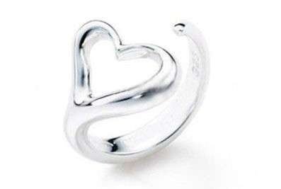 Heart Ring - Adjustable - One Size Fits All (.925 Sterling Silver Electroplated Ring)