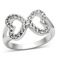 CZ Gem Filled Infinity - (Hearts) Rhodium Electroplated Promise of Love & Commitment Ring - Silver Color