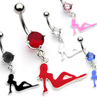 Lesbians - Hot Girl Pose - (1) Navel Ring (Belly / Body Lesbian Jewelry) Black, White, Red, Blue or Pink
