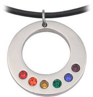 Rainbow CZ Bottom Round Pendant -  LGBT Gay and Lesbian Pride Necklace