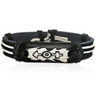 Male & Female Black Symbols on Leather Bound Bracelet - Supporter LGBT Jewelry