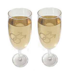Image of Gay Mens Chandagne Glass Flutes w/ White Double Male Symbols (Set of 2) Great as a Gay Wedding Gift!