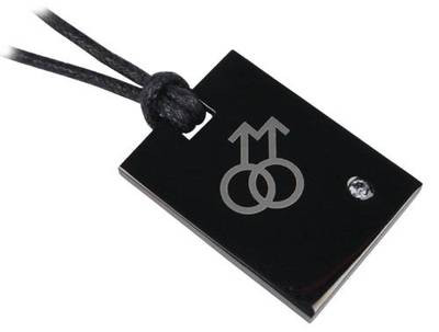Image of Double Male Symbol Black Plate Pendant Gay Pride Necklaces