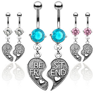Image of 2pc Set Best Friends BFF Dangle Navel Ring (Belly / Body Jewelry) Pink, Blue or Clear CZ