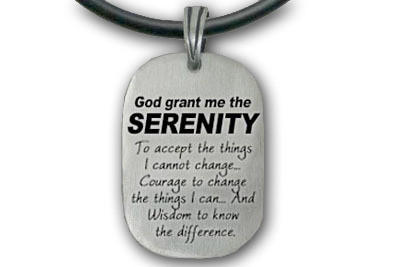 Image of Serenity Prayer Necklace God Grant Me The Serenity... Pewter Pendant w/ black PVC rope/chain included!
