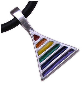 Rainbow Pride Triangle - Gay & Lesbian LGBT Pride Pewter Necklace. Rainbow Items from Reinhardt Depot Pewter_Rainbow_Triangle_Neck_PVC_rope