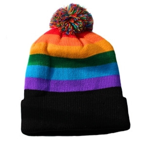 Image of Ski Cap Short Pom Pom Rainbow Black Brim Winter Cap LGBT Gay ∧ Lesbian Pride Hat. Gay and Lesbian Pride Clothing ∧ Apparel