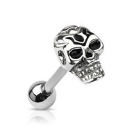 Laughing Death Skull Tongue Ring - Top Quality - 316L Stainless Steel Barbell