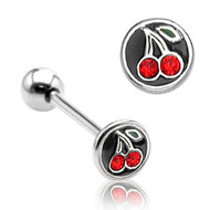 Lesbian Double Cherry Red Gems on Black - Tongue Ring Barbell (Body Jewelry)