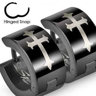 Black Gothic Medieval Cross - Stainless Steel Wide Hoop Earrings