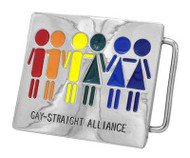 Rainbow Gay Straight Alliance Rectangular Belt Buckle - STR8, Gay & Lesbian Pride - Straight Ally Supporter