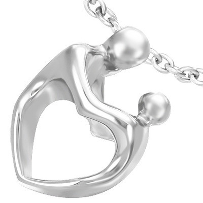 Sculptured Heart Body Mother and Child Pendant - Silver Color Heart Pendant w/ chain necklace included!