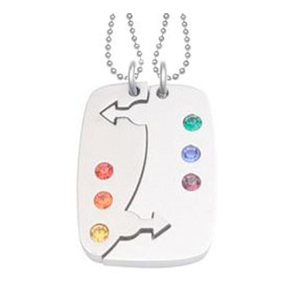 Image of 2pc Set Break Apart Double Male Mars Puzzle Pendants Gay Pride Jewelry Set Necklaces w/ 6 Rainbow CZ stones!