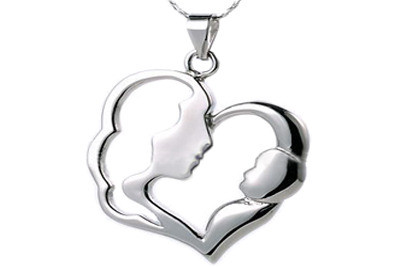 Image of Classic Mother and Child Pendant Flat Stainless Steel Pendant w/ chain necklace included!