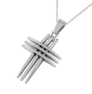Triple Point Crucifix Pendant - Christian Stainless Cross Pendant w/ chain necklace included!