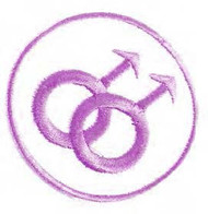 Round Double Male Purple and White Patch - LGBT Gay & Lesbian - Apparel Acessories