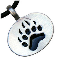 Bear Pride Oval Pendant - Gay Pride Pewter Necklace