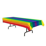 """Plastic Rainbow Pride Table Cloth (Rectangle - 54 x 108"""") LGBT Gay Lesbian Party"""