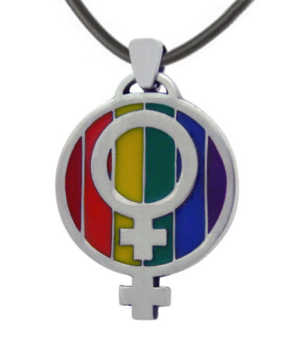 Image of LGBT Over and Under Rainbow Lesbian Pride Pendant w/ Double Female Symbols LGBT Lesbian Pride Necklace