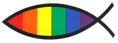 Gay Rainbow Fish Car Magneet