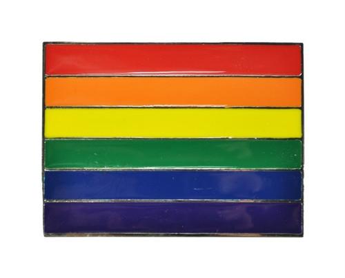 Image of Rainbow Rectangular Belt Buckle LGBT Gay ∧ Lesbian Pride