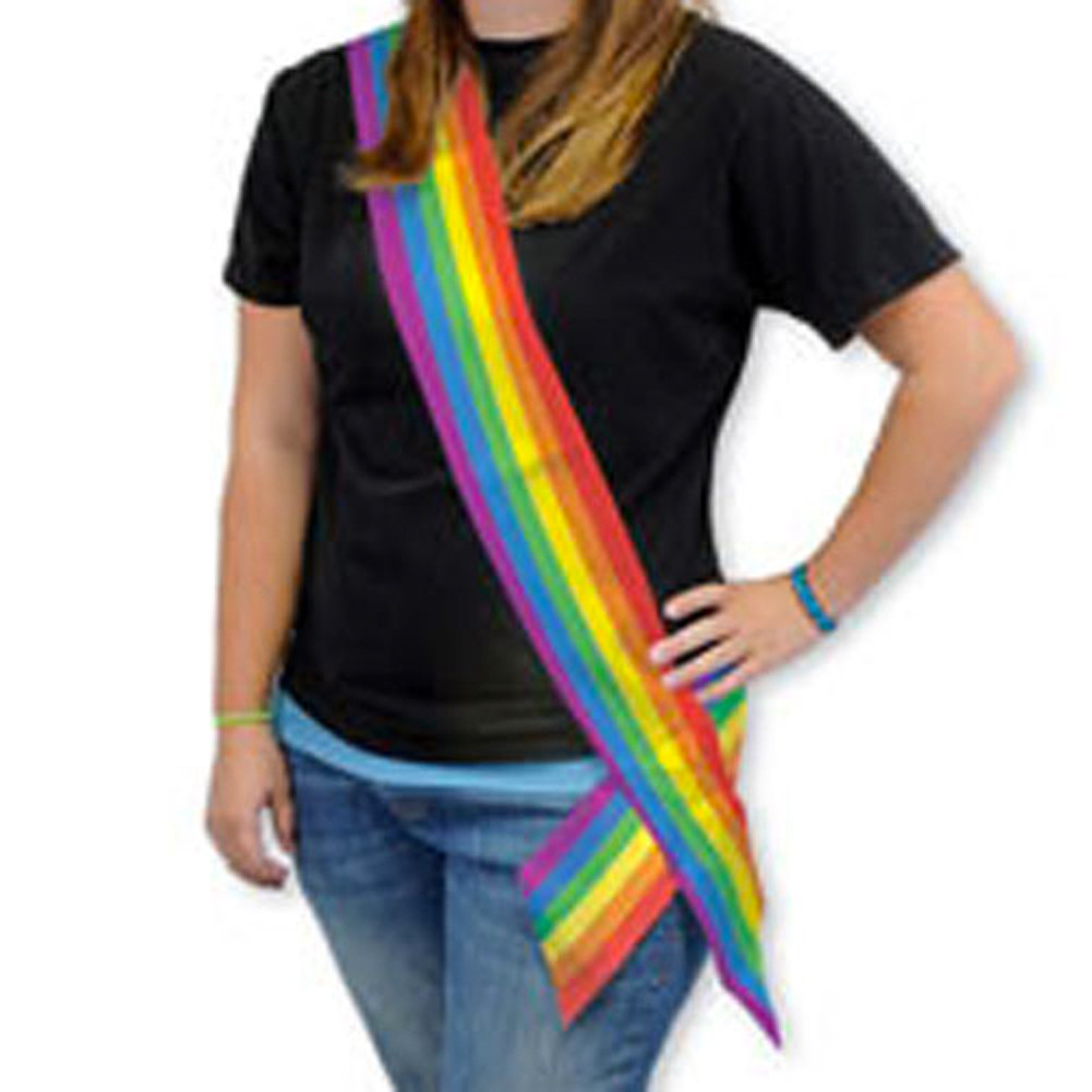 Image of 6' Foot Satin LGBT Rainbow Sash Gay Pride Parade / Lesbian Pride Party Supplies