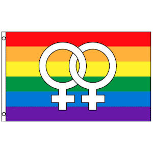Image of Rainbow Flag / Lesbian Pride Flag (Double Female Venus Symbols) 3 x 5 Polyester Gay Flag