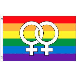 Image of Rainbow Flag / Lesbian Pride Flag (Double Female Venus Symbols) 3 x 5 Polyester Gay Flag