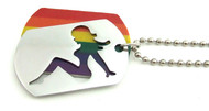 Hot Girl Rainbow Dog Tag - Lesbian Pride Steel Jewelry Necklace - 2pc Sectional
