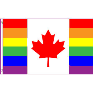 Image of Gay Pride Flag Canada Canadian Pride Rainbow Flag 3 x 5 Polyester Gay Flag