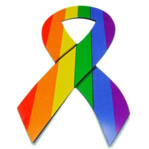 Image of Rainbow Pride LGBT Gay ∧ Lesbian Ribbon Car Magnet w/ Bold Rainbow lines