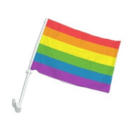 Car Window Automobile Gay Flag  / Rainbow Flag - LGBT Gay & Lesbian Pride - Polyester 12 x 15 inch