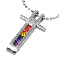 Rainbow CZ Embedded Cross - Christian Gay and Lesbian LGBT Pride Steel Necklace