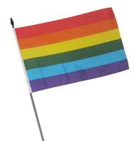Rainbow Flag / Gay Pride Mini Hand Flag - LGBT Gay & Lesbian Gay Flag  - 4 x 6 inch Polyester