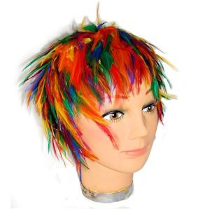 Image of Hackle Feather Rainbow Wig LGBT Gay and Lesbian Pride Apparel / Parade Wear