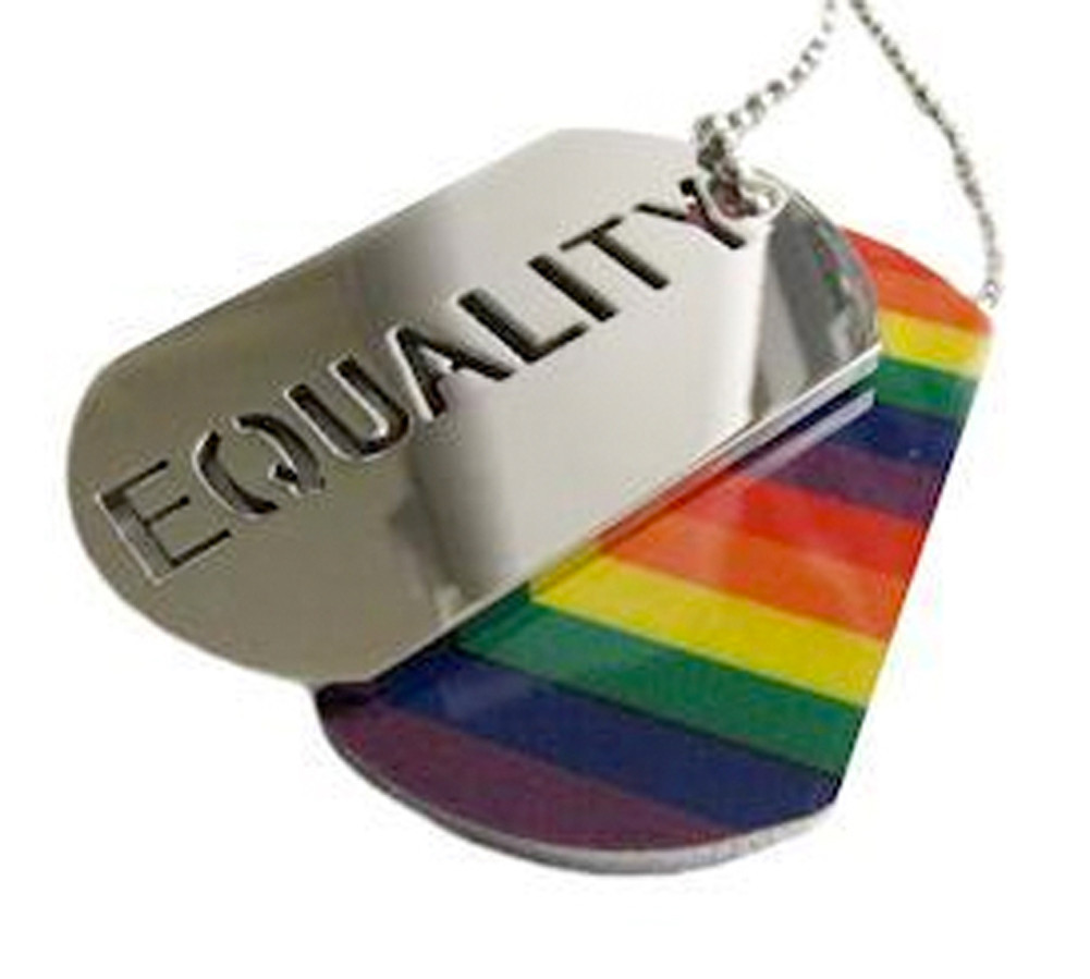 Image of 2pc. Equality Rainbow Dog Tag LGBT Gay and Lesbian Pride Necklace