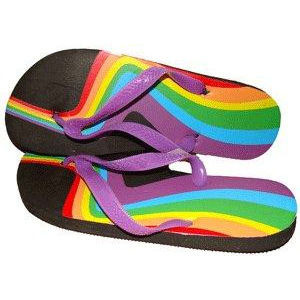 Image of Rainbow Swirl Bottom Heel Flip Flops Sandals w/ Black Soles LGBT Gay and Lesbian Pride Clothing and Apparel (Footwear)