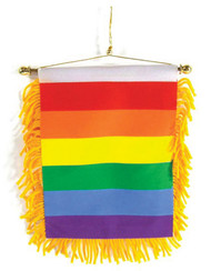 Gay Pride Rear View Mirror Banner Flag - Rainbow Car Pride Flag
