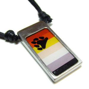Image of Bear Pride Rectangular Flag Pendant Gay Pride Pewter Necklace