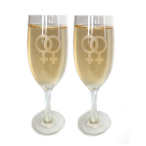 Image of Lesbian Chandagne Glass Flutes w/ White Double Female Symbols (Set of 2) Great as a Gay Wedding Gift!
